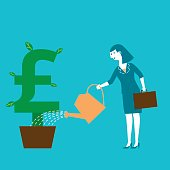 Business concept illustration of a female investor watering her British Pound symbol plant.