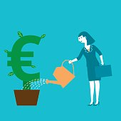 Business concept illustration of a female investor watering her EURO symbol plant.
