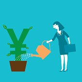 Business concept illustration of a female investor watering her Yen/Yuan symbol plant.