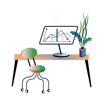 Investor office interior design. Growth arrow chart on computer screen