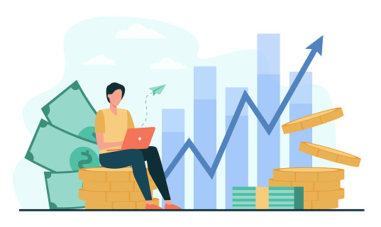 Investor with laptop monitoring growth of dividends
