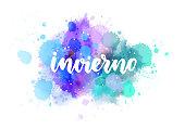 Invierno - lettering on watercolor splash