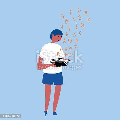Invisible Disorder Dyslexia. Dyslexia in the boy. Vector editable file eps 10