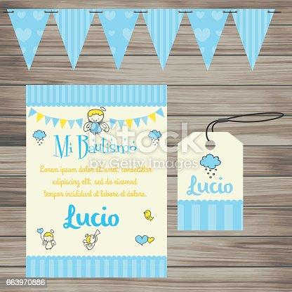 istock Invitación a Evento Infantil - Bautismo Celeste 663970886