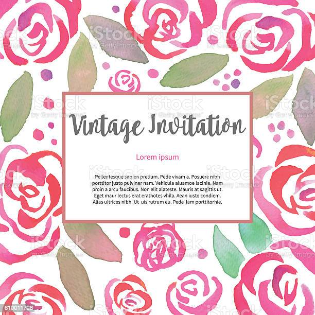 Invitarion card with watercolor vintage roses vector id610011728?b=1&k=6&m=610011728&s=612x612&h=em9wbvcte8xjkctm6o7wnp 9yqimexliii2qdxayx4u=
