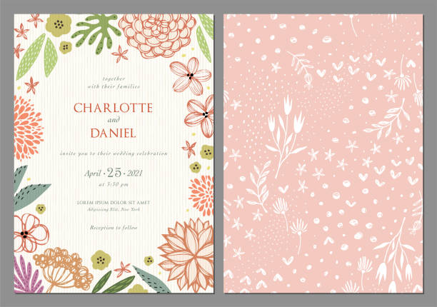 Invitation and Card Design Set_01 Invitation and universal card templates with vector flowers. Wedding floral design. Good for birthday, menu, bridal and baby shower. shabby chic stock illustrations