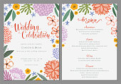 Wedding invitation and menu design template with floral wreath. Vector file.