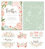 Rustic hand drawn wedding invitation with seamless background and floral design elements. Vector illustration.