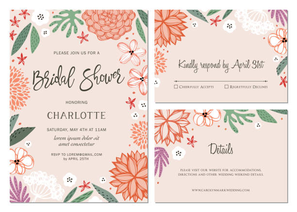 invitation and card design set_06 - bachelorette party stock illustrations, clip art, cartoons, & icons