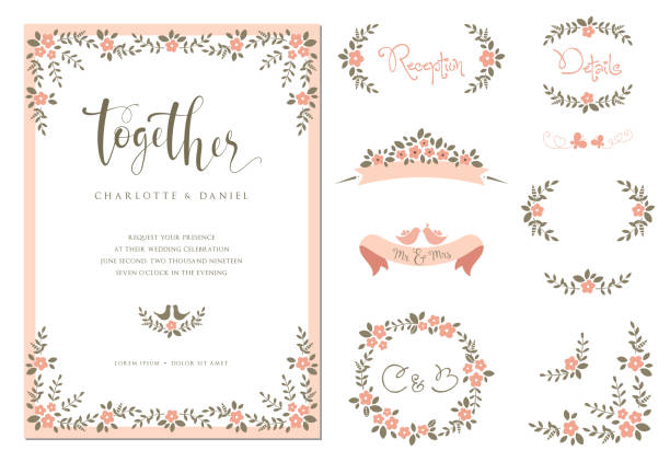 Invitation and Card Design Set_07 Wedding graphic set with branches, flowers, birds, butterflies, laurels, banners and frames. Vector illustration. shabby chic stock illustrations
