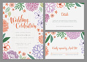 Invitation and universal card design set with floral wreath. Wedding templates. Good for birthday, menu, bridal and baby shower. Vector illustration.