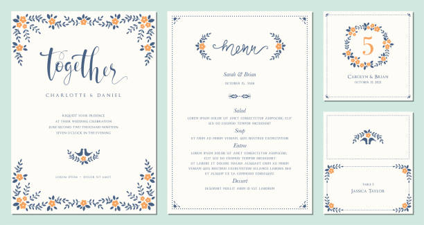 invitation and card design set_09 - wedding backgrounds stock illustrations, clip art, cartoons, & icons