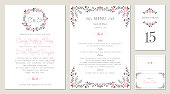 Invitation, menu, table number and name place card design.  Floral wedding templates. Good for birthday, bridal and baby shower. Vector illustration.