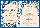 Bridal Shower invitation and menu set with floral elements. Vector illustration.