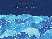 Invitation and welcome card on navy blue background with watercolor waves ornament - vector illustration