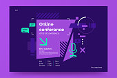 istock Invitation banner to the online conference. Business webinar invitation design. Announcement poster concept in flat style. Modern technology background with place for text. Vector eps 10. 1217671631