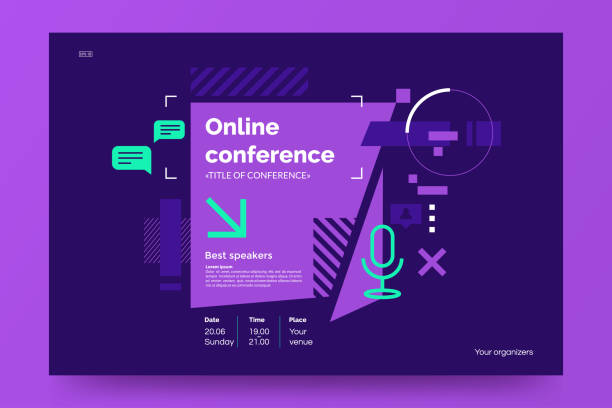 ilustrações de stock, clip art, desenhos animados e ícones de invitation banner to the online conference. business webinar invitation design. announcement poster concept in flat style. modern technology background with place for text. vector eps 10. - webinar anuncio