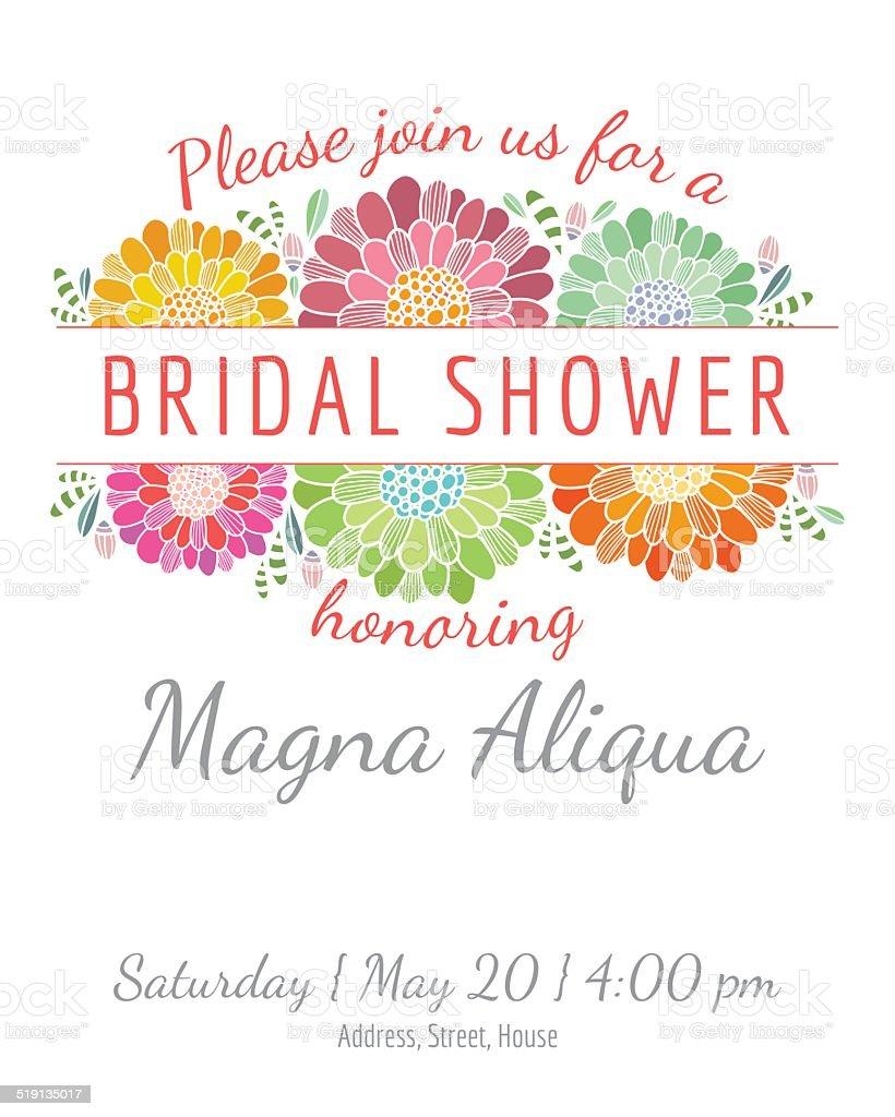Invitation Bridal Shower Card Vector Template Stock Illustration In Bridal Shower Banner Template