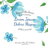 Invitation bridal shower card with blue flower vector template