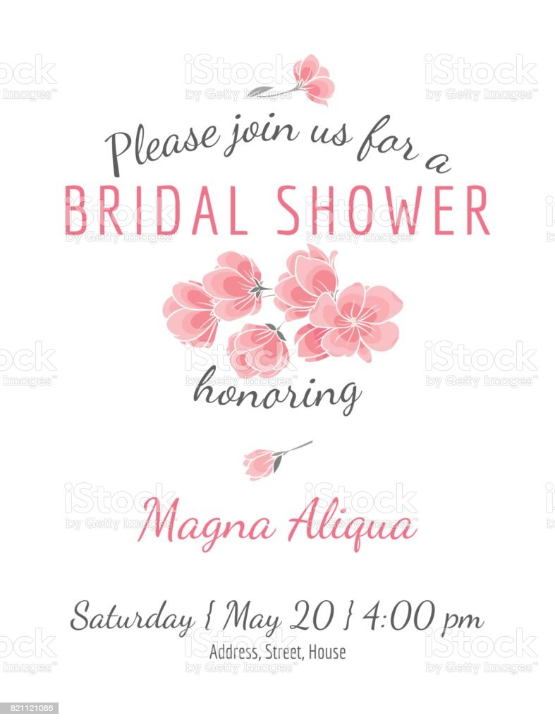 Invitation bridal shower card with cherry sakura flowers vector template vector art illustration