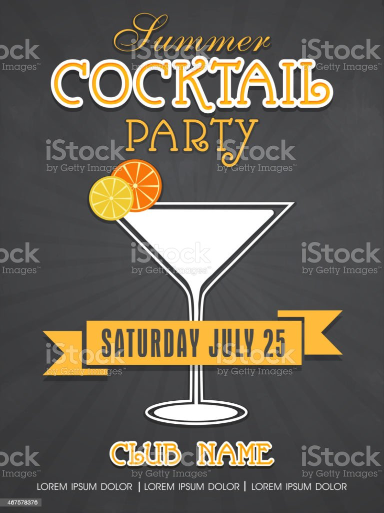 Invitation card design for summer cocktail party. vector art illustration
