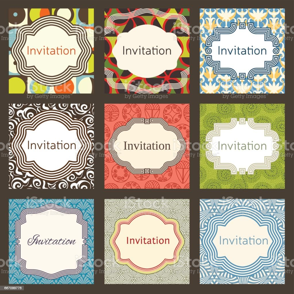 Invitation Card Design Template Set Editable Layout For