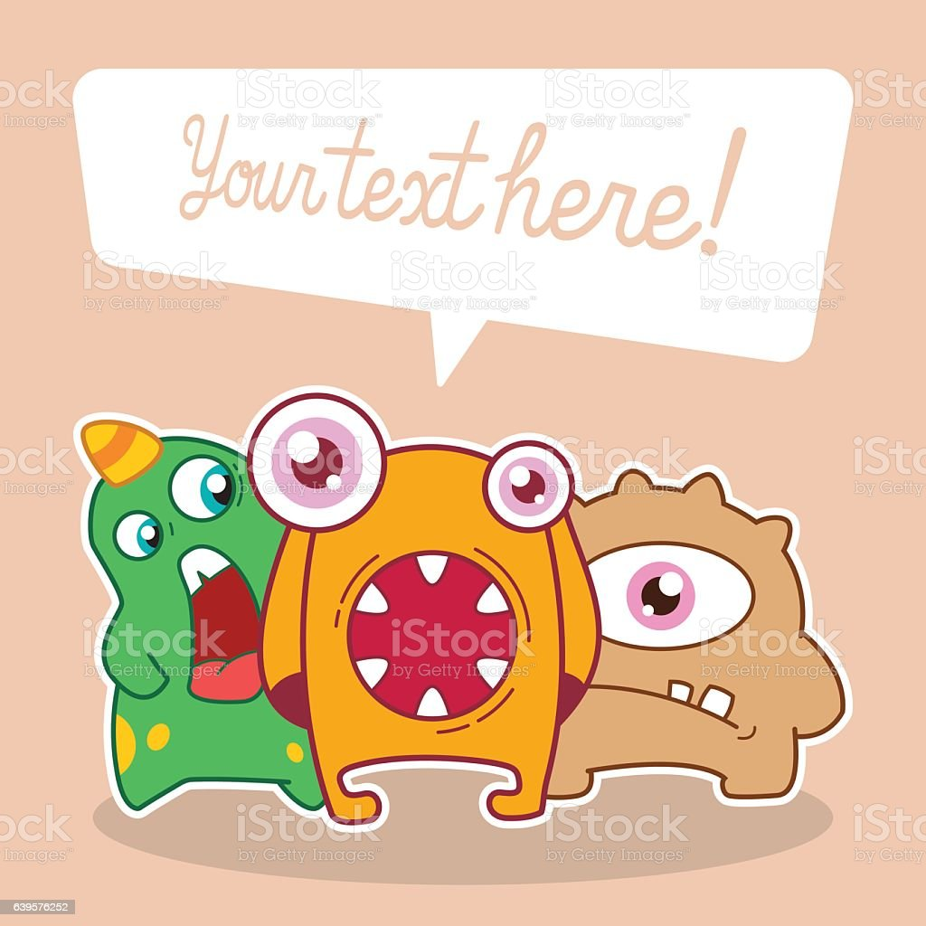 invitation card design with cute monsters vector art illustration
