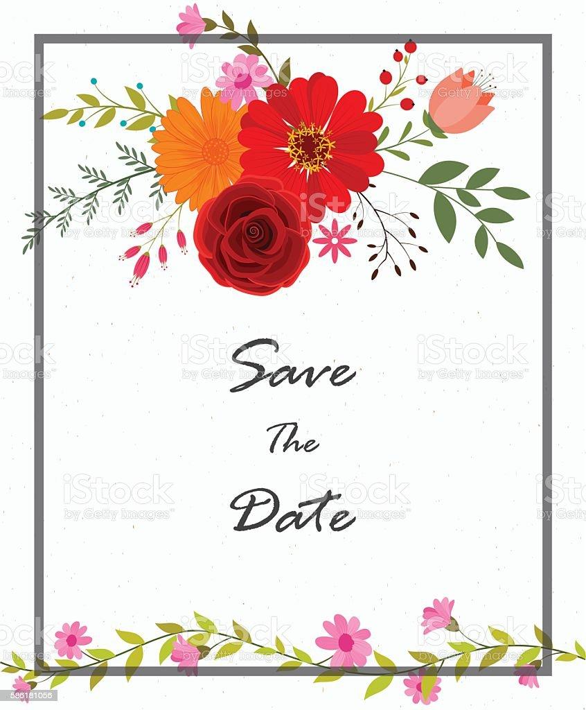 Invitation card design with flowers arte vetorial de stock e mais invitation card design with flowers invitation card design with flowers arte vetorial de stock e stopboris Images