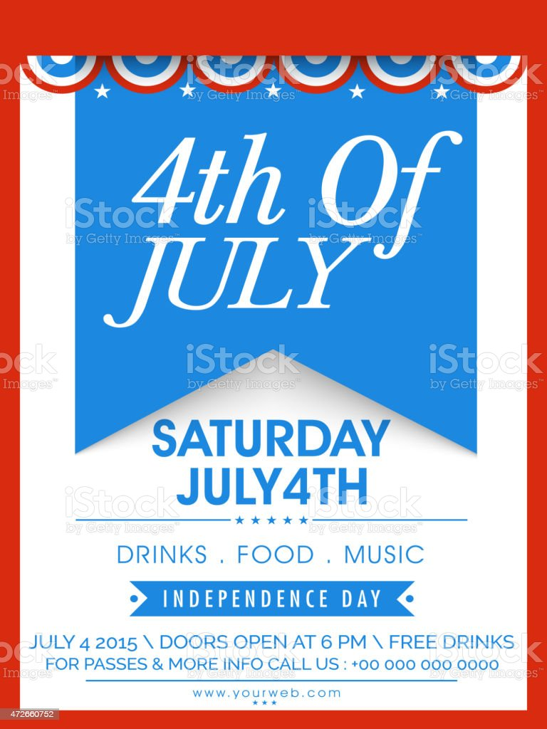 Invitation card for American Independence Day celebration. vector art illustration
