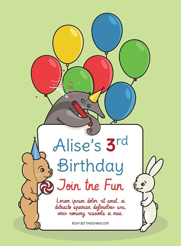 Invitation Card For Children S Birthday Party Stockowe