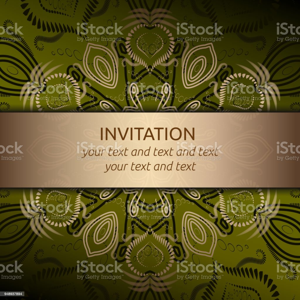 Invitation card in green with gold ribbon stock vector art more invitation card in green with gold ribbon royalty free invitation card in green with gold stopboris Image collections