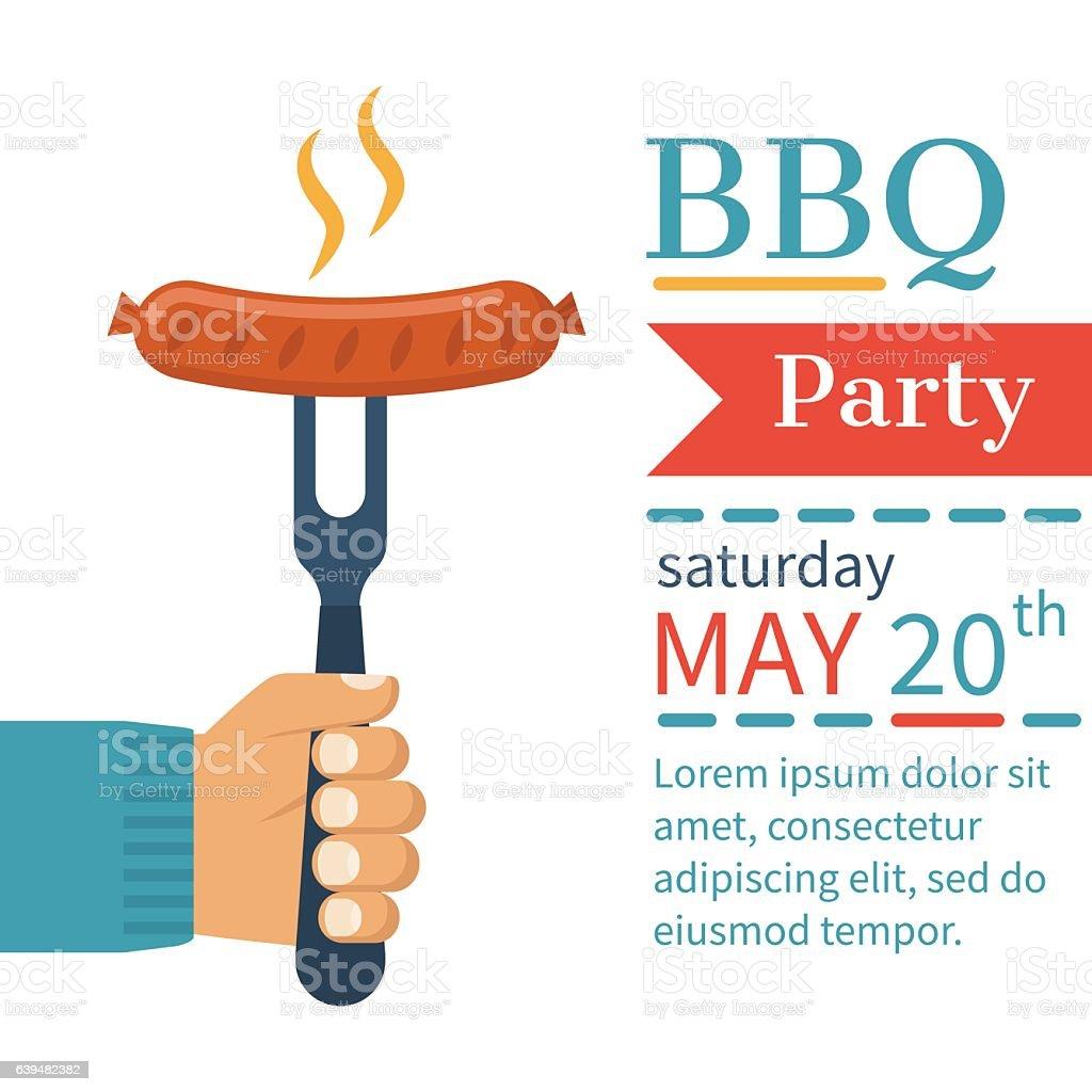 invitation card on barbecue イラストレーションのベクターアート素材
