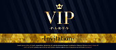 VIP party premium invitation card poster flyer. Black and golden design template. Mosaic faceted pattern and diagonal stripes decorative background.