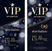VIP party premium invitation card poster flyer set. Black, gray and golden design template. Bokeh glow pattern decorative background.