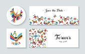 Invitation card set with spring illustrations