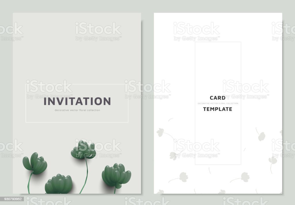Invitation Card Template Design Green Sedum Rubrotinctum Or Jelly Bean Plant Royalty Free
