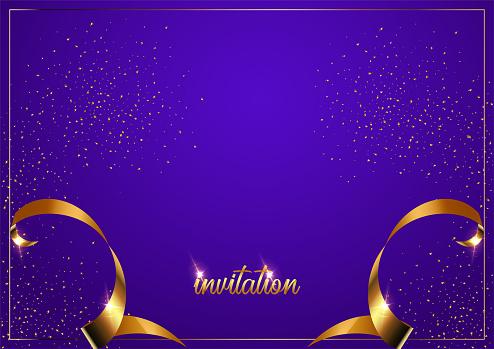 Invitation Card Template Purple Gradient Background Vector Illustration Stock Illustration Download Image Now