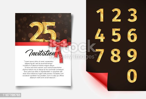 Invitation card template with numbers collection vector illustration Anniversary banner with red ribbon and bow