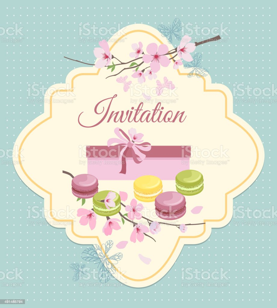 Invitation Card To Tea Party With Flowers And French Macaroons Stock