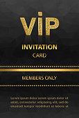 VIP invitation card with glittering emblem on black background.