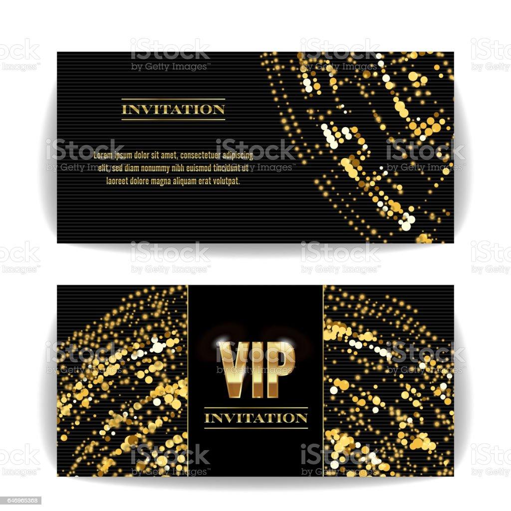 Vip Invitation Card Vector Sequins Round Dots Decorative