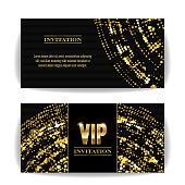 VIP Invitation Card Vector. Sequins Round Dots. Decorative Vector Background. Elegant Template Luxury