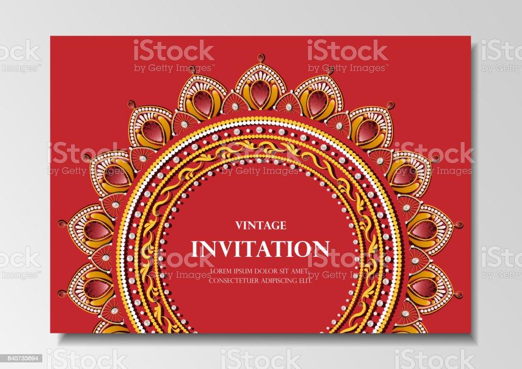 invitation card vintage design with diamond mandala pattern on blue background vector vector art illustration
