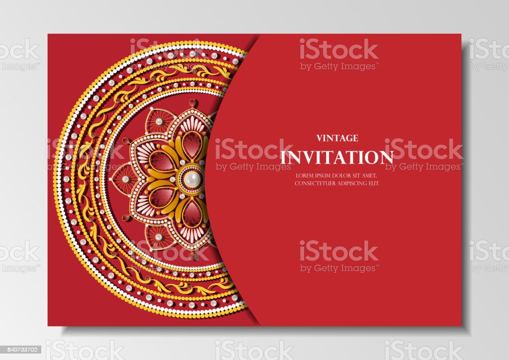 Invitation Card Vintage Design With Diamond Mandala Pattern On Red Background Vector Stock Illustration Download Image Now Istock