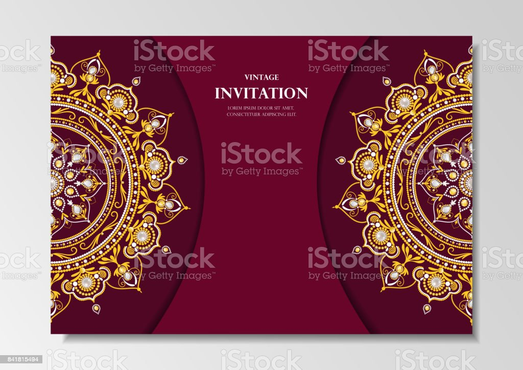 Invitation Card Vintage Design With Diamond Mandala Pattern