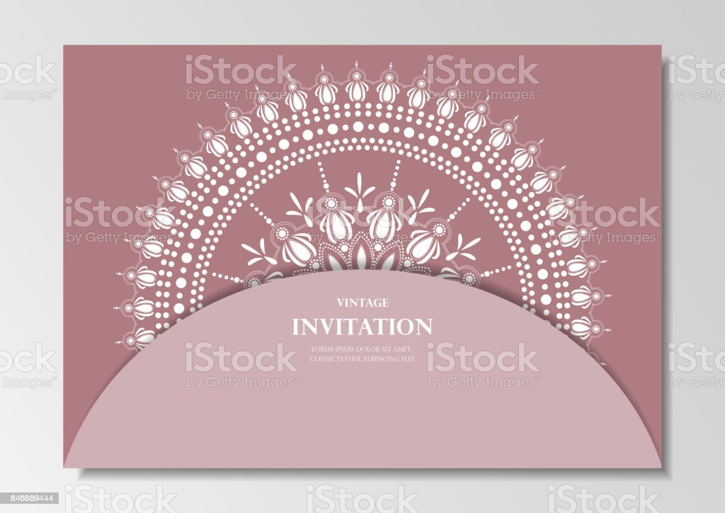 Invitation Card Vintage Design With Lace Mandala Pattern Rose Pink Background Vector Stock Illustration Download Image Now Istock
