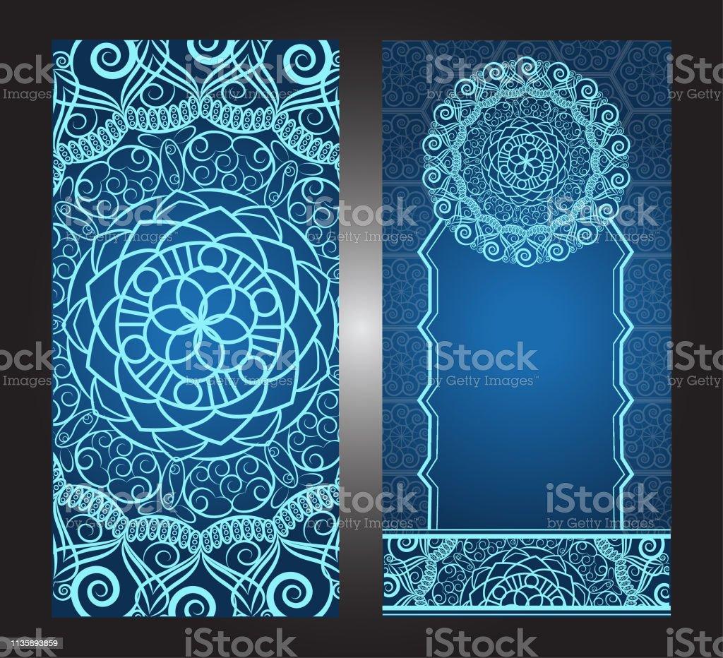 Invitation Card Vintage Design With Mandala Pattern On Purple Background Vector Stock Illustration Download Image Now Istock