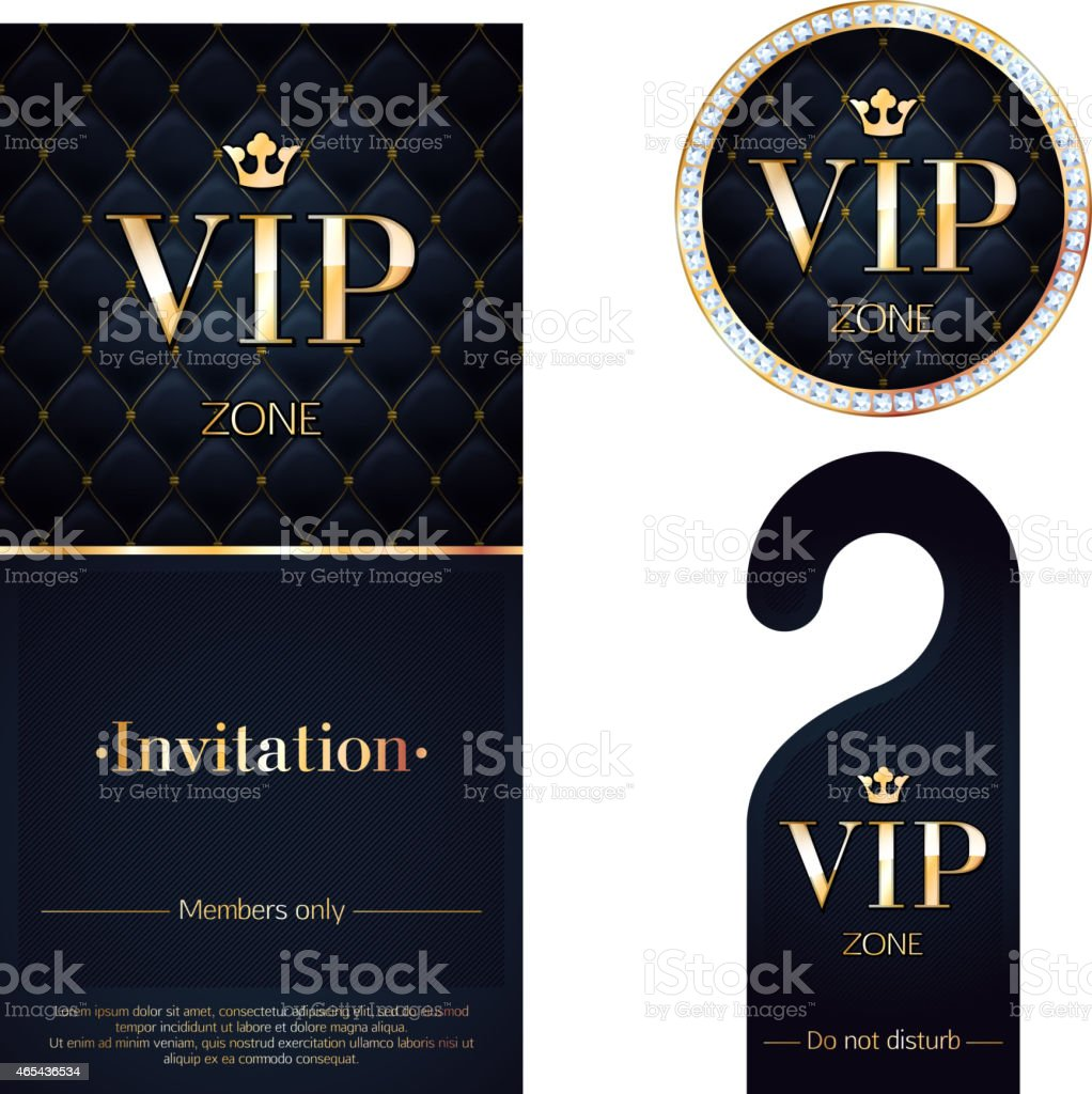 VIP invitation card, warning hanger and badge. vector art illustration