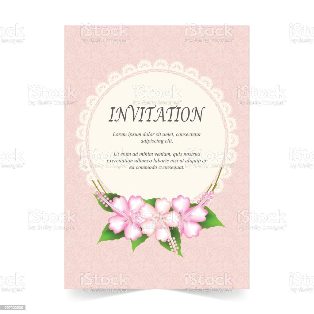 Einladungskarte Hochzeitskarte Und Spitze Rahmen Auf Rosa ...