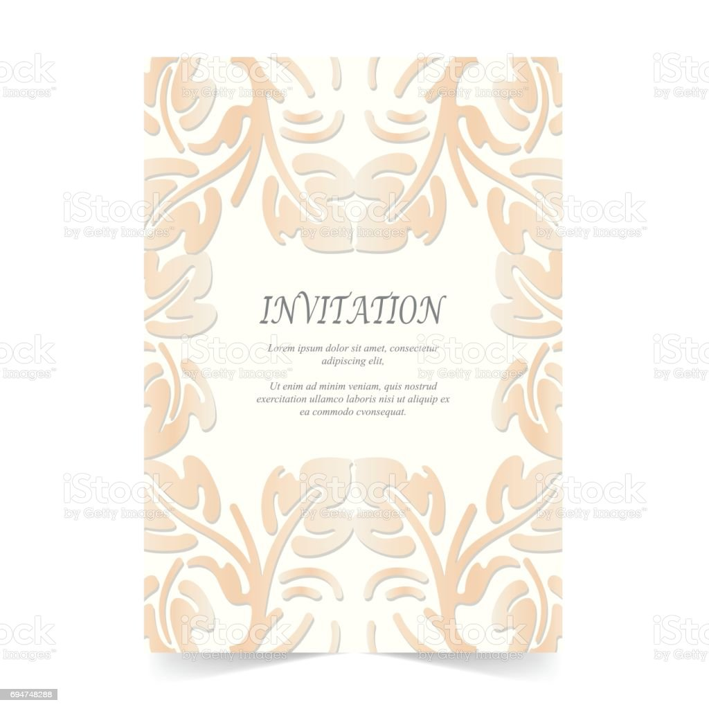 Einladungskarte Hochzeitskarte Mit Ornament Auf Elfenbein